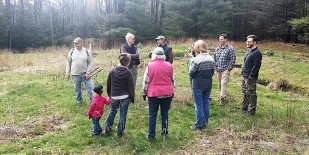 Volunteers meet prior to the trail clean up activity